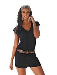 Combinaisons Aux femmes Manches Courtes Simple Polyester Moyen Micro-élastique
