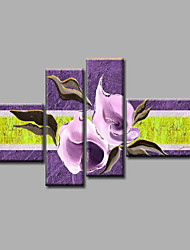 """Ready to Hang Stretched Hand-painted Oil Painting 72""""x44"""" Canvas Wall Art Modern Flowers Purple Lily"""