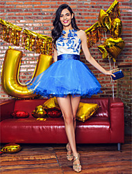 Cocktail Party Dress A-line Jewel Short/Mini Tulle