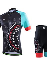 cheji® Maillot et Cuissard de Cyclisme Femme Manches Courtes Vélo Ensemble de Vêtements Séchage rapide Résistant aux ultraviolets