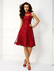 Cocktail Party / Holiday / Prom Dress - Burgundy Plus Sizes / Petite A-line Jewel Knee-length Organza