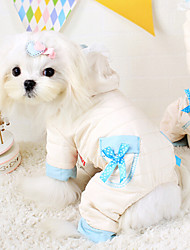 Dog Hoodie / Clothes/Jumpsuit White Dog Clothes Winter / Spring/Fall Solid Cute / Keep Warm