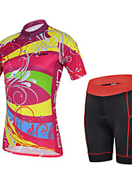 CHEJI Colorful Flowers Women Breathable Quick Dry Cycling Jersey Shirt Short Sleeve Set