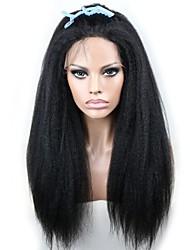 Joywigs Italian Yaki African American Wig Glueless Brazilian Virgin Remy Human Hair Kinky Straight Lace Front Wigs