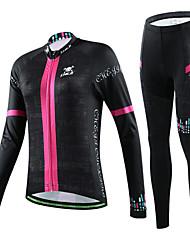 CHEJI® Fahrradtrikots mit Fahrradhosen Damen Langärmelige FahhradAtmungsaktiv / Rasche Trocknung / UV-resistant / Leichtes Material / 3D