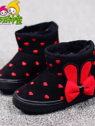 Girl's Boots Spring Fall Winter Comfort Fur Outdoor Casual Athletic Flat Heel Bowknot Polka Dot Others Blue Black and Red