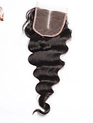 """8""""-24"""" Натуральный чёрный (#1В) Естественные кудри Человеческие волосы закрытие 43g-45g грамм Размер крышки"""