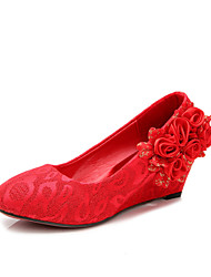 Women's Wedding Shoes Wedges / Round Toe / Closed Toe Heels Wedding Red