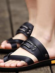 Черный Коричневый-Мужской-Для прогулок Повседневный Для занятий спортом-Наппа Leather-На плоской подошве-С Т-образной перепонкой Удобная