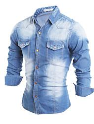 Brand Fashion Men's casual long-sleeved denim jacket lapel jacket Slim Polyester Casual / Sport