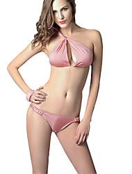Women's Halter Bikinis  Tankinis , Solid Padded Bras  Underwire Bra Others Pink