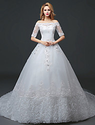 A-line Wedding Dress Floral Lace Court Train Bateau Lace Tulle with Lace