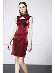 Cocktail Party Dress Sheath / Column High Neck Short / Mini Satin with Embroidery