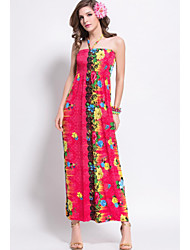 Women's Sexy / Holiday Print Sheath Dress , Halter Maxi Spandex