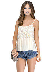 Women's Sexy Female Embroidery Lace Chiffon Vest