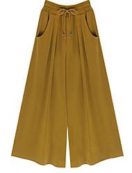 Women's Solid Black / Green / Yellow Wide Leg Pants , Vintage