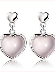 2016 Korean Women 925 Silver Sterling Silver Jewelry Pink Crystal Heart Earrings Drop Earrings 1Pair