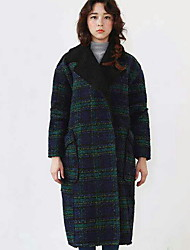 Women's Check Red / Green Coat , Street chic Long Sleeve Cotton