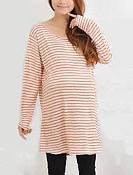 Elegant Hot Sale Maternity Round Neck Pleated T-shirt,Cotton Long Sleeve Breathable comfortable Dress