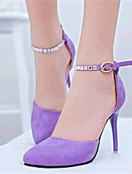 Women's Shoes Fleece Stiletto Heel Heels Heels Party & Evening Black / Purple
