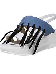 DamenLässig-Kunststoff / Kunstleder-Flacher Absatz-Flip - Flops-Schwarz / Weiß