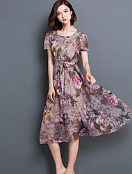 Women's Simple Floral Swing Dress,Round Neck Midi Polyester / Others