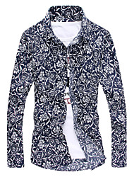 M-5XL Plus Size High Quality Men's Board Shirts Long Sleeve Shirt,Cotton / Polyester Casual / Plus Sizes Print / Floral
