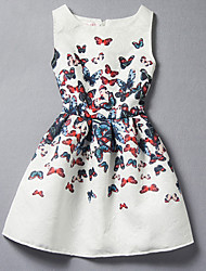 Girl's Cotton Spring And Summer New Butterfly Print Tank Top Dress