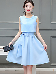 Women's Simple Solid A Line Dress,Round Neck Knee-length Polyester