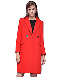 Women's Solid Red / Black Coat,Street chic Long Sleeve Polyester