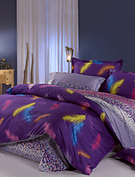 Purple 100% Cotton Bedclothes 4pcs Bedding Set Queen Size Duvet Cover Set good qulity