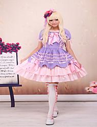 Une Pièce/Robes Gothique / Doux / Lolita Classique/Traditionnelle Steampunk® Cosplay Vêtements de Lolita Pourpre clair Couleur Pleine