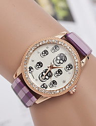 L.WEST Ladies' Plaid Strap Skull Diamonds Quartz Watch