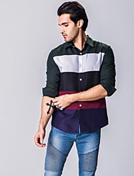 Men's Patchwork Casual Shirt,Cotton Long Sleeve Black / Green