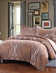 Simple Opulence Duvet Cover Set Microfiber luxury Printed Shallow Coffee Include Quilt Cover Pillow Cases Queen King