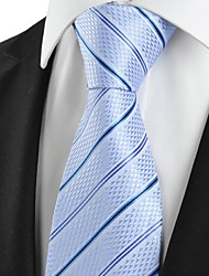 KissTies Men's Striped Light Blue Microfiber Tie Necktie For Wedding Party Holiday With Gift Box
