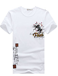 Men's Fashion Chinese Style Print Slim Fit Casual Short-Sleeve T Shirt,Cotton/Spandex