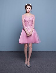 Short / Mini Lace / Satin / Tulle Bridesmaid Dress A-line Scoop with