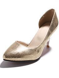 Calçados Femininos-Saltos-Saltos-Salto Agulha-Prateado / Dourado-Courino-Casual