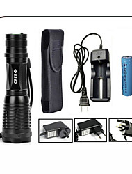 Beleuchtung LED Taschenlampen LED 1000 lumens Lumen 5 Modus Cree XM-L T6 18650einstellbarer Fokus / Wasserdicht / Wiederaufladbar /