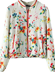 Women's Floral White Jackets,Simple Long Sleeve