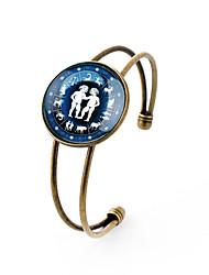 Lureme® Time Gem The Zodiac Series Gemini Disc Cuff Bangle Bracelet for Women and Girl
