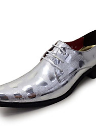 Men's Shoes Wedding/Office & Career/Party & Evening / Dress / Casual Synthetic / Patent Leather Oxfords Black/Silver