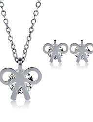 2016 Fashion Luxury Lovely Bowknot Zircon Jewelry Set For Women