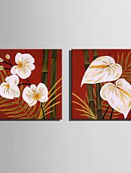 pintura al óleo de tamaño mini e-casa de bambú moderna y flor de la mano pura dibujan pintura decorativa sin marco