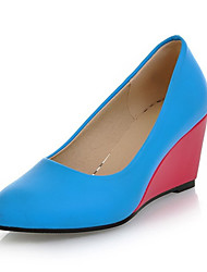 Women's Shoes Leatherette Wedge Heel Wedges Heels Wedding / Office & Career / Party & Evening / Blue / Red