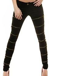 Women's Causal Club Zippers Patchwork Skinny Pants