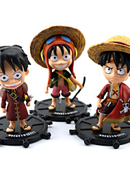 3PCS One Piece 10CM Luffy PVC Anime Action Figures Doll Toys