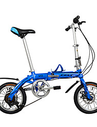 Dequilon 14-inch six gear folding bike disc brakes bicycle blue tape
