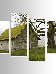 U2art®Landscape Canvas Print Grass House Scenery Four Panels Ready to Hang , Vertical For Living Room(No Frame)